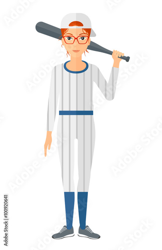 Baseball player standing with bat. Poster