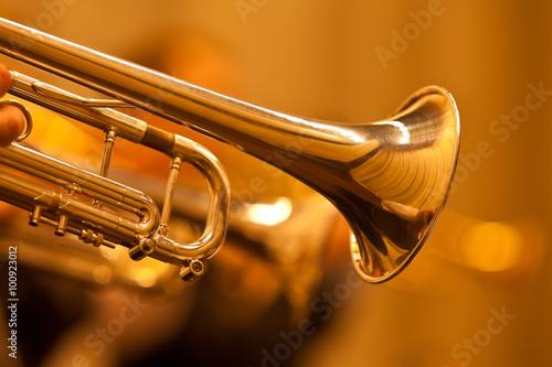 Fotografija Detail of the trumpet closeup in golden tones