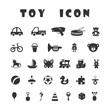 Black toy icons isolated on white background