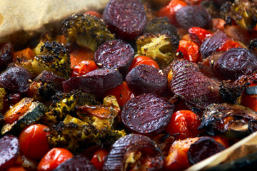 Fototapeta Coocked mixed vegetables from oven