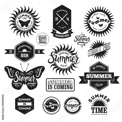Foto op Aluminium Vlinders in Grunge Vector Set of Summer typographic retro labels and vintage badges. Grunge effect in separate layer.