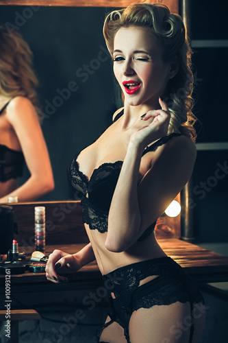 130a7e9f96e45 Beautiful blonde model in expensive lace lingerie.Retro vintage ...