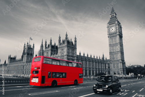 Poster Londres bus rouge Bus in London