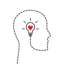 Thinking, Good Morale And Inspiration Concept. Face Profile And Lightbulb As Idea Symbol With Heart Inside.