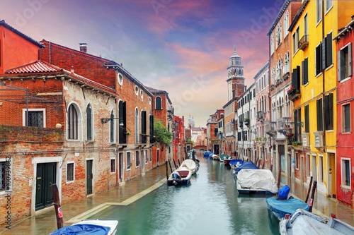 Venice landmark, canal, colorful houses and boats, Italy Poster