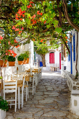 Obraz na Szkle Uliczki Beautiful mediterranean colorful street, Amorgos, Greece