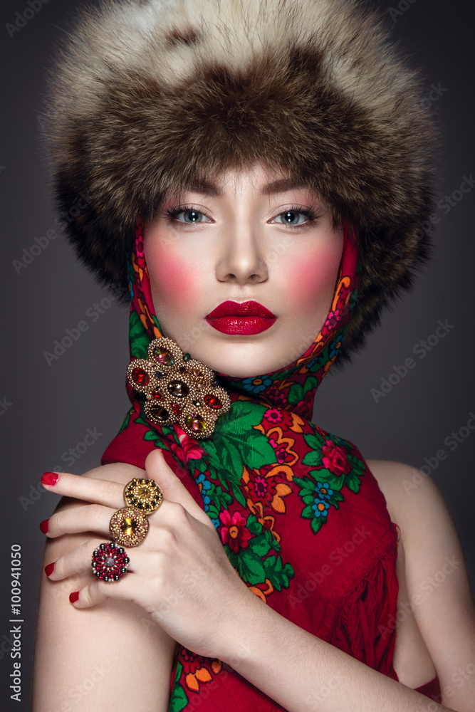 Photo Art Print Beautiful Woman Portrait In Russian Style