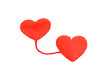 Two red hearts in love