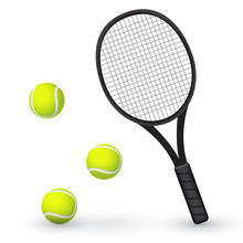 Tennis Racket And Balls : Vector Illustration