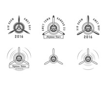 Set Of Vintage Airplane Propeller Emblems. Biplane Labels. Retro Plane Badges,design Elements. Aviation Stamps Collection. Airshow Logo And Logotype. Old Icon, Isolated On White Background. Vector