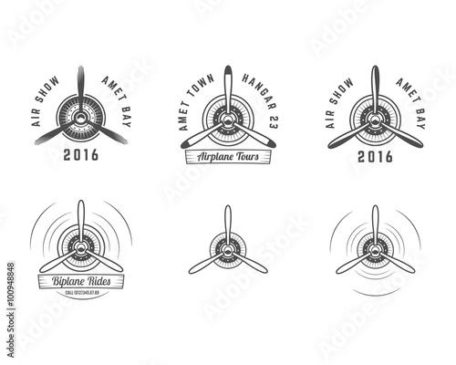 Fotografiet Set of Vintage airplane propeller emblems