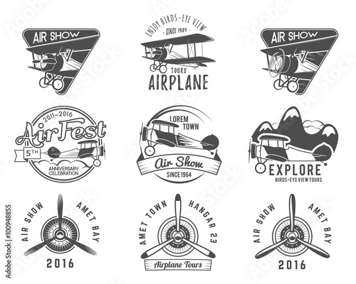 Papiers peints Cartoon draw Vintage airplane emblems. Biplane labels. Retro Plane badges, design elements. Aviation stamps collection. Airshow logo and logotype. Fly propeller, old icon, isolated on white background. Vector