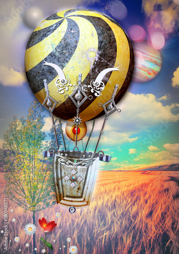 Foto op Aluminium Imagination Corn fied and tree with steampunk hot air balloon