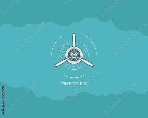Vintage Airplane Background With Sky Propeller Emblem