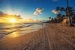 Carribean vacation, beautiful sunrise over tropical beach