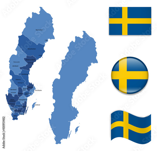 Fotografía  High Detailed Map of Sweden With Flag Collection