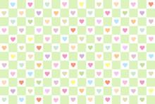 チェックとハートのシームレス背景 カラフルグリーン
