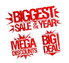 Biggest Sale Of The Year Stamp, Mega Discounts Stamp, Big Deal Stamp.