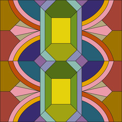 Panel Szklany Podświetlane Ornamenty Art deco vector colored geometric pattern. Art deco stained glass pattern. Abstract pattern.