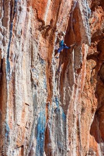 Canvas Prints Textures Female Mountain Climber lead climbing natural Rock