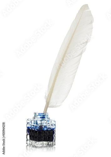 White feather quill pen and glass inkwell isolated on a white background. Retro style.