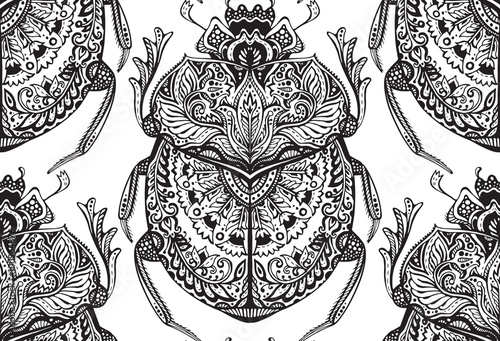 Cadres-photo bureau Style Boho Vector seamless pattern with hand drawn zentangle scarabs