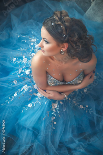 Fotografie, Obraz  Beautiful young woman in gorgeous blue long dress like Cinderella with perfect m