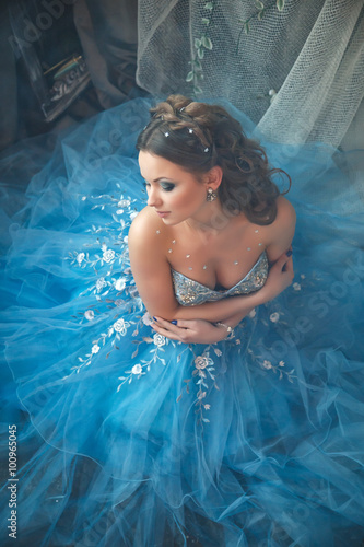 Stampa su Tela Beautiful young woman in gorgeous blue long dress like Cinderella with perfect m