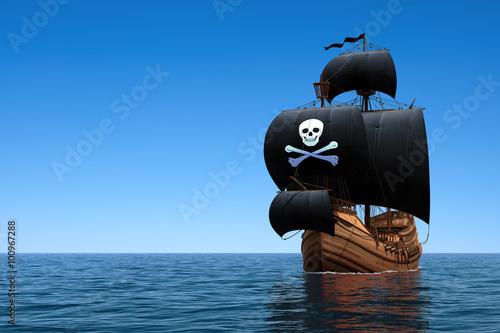 In de dag Schip Pirate Ship In Blue Ocean