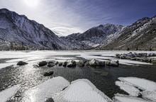 Freezing Convict Lake In California's Eastern Sierras.