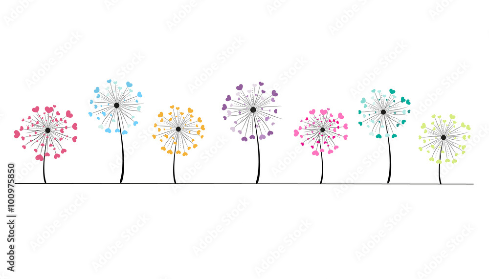 Fototapety, obrazy: Abstract colorful heart dandelion spring time vector background