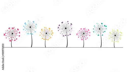 Abstract colorful heart dandelion spring time vector background