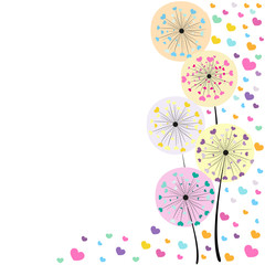 Panel Szklany Dmuchawce Abstract colorful heart dandelion spring time vector background