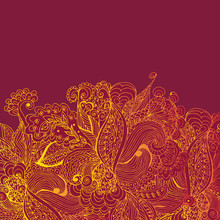 Vintage Background With Gold Lace Ornament. Template For Design Greeting Cards, Greetings, Background, Packaging.