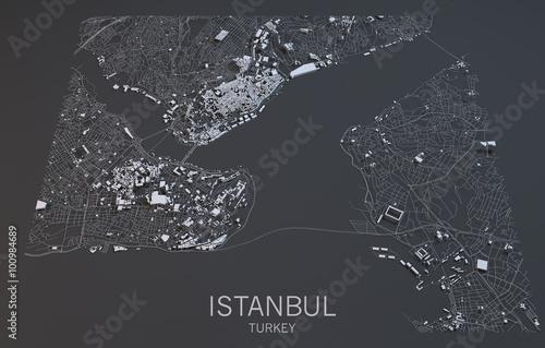 Fotografie, Obraz Cartina Istanbul, vista satellitare, Turchia, 3d città