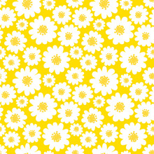 White Daisies Seamless Pattern On A Yellow Background.Daisy Field