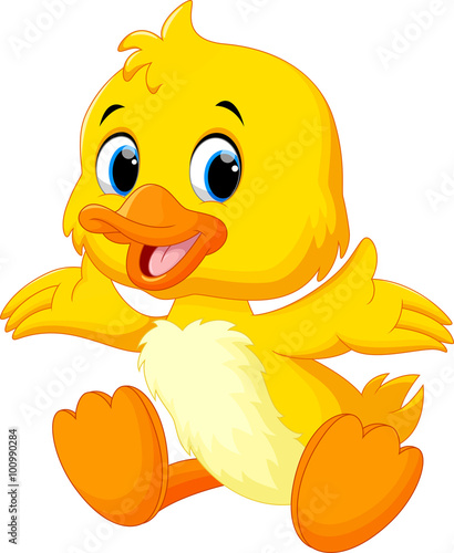 Photo Cute baby duck lifted its wings