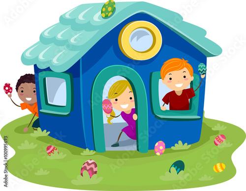 Obraz na plátne Stickman Kid Egg Hunt Playhouse