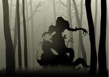Scary Monster In Dark Woods