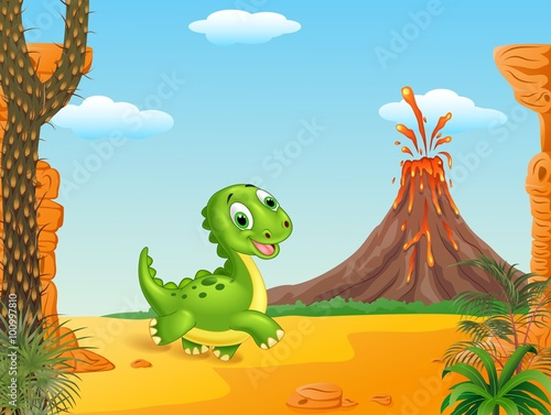 Canvas Prints Dinosaurs Cute baby dinosaur running in the prehistoric background