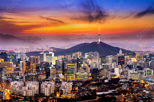 View of downtown cityscape and Seoul tower in Seoul, South Korea Wallpaper Mural