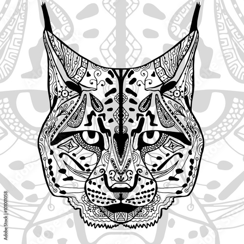 The Black And White Bobcat Print With Ethnic Zentangle Patterns Stunning Zentangle Patterns To Print