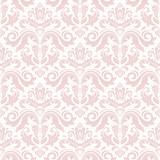 Adamaszkowy bezszwowy ornament. Tradycyjny wektor różowy wzór. Klasyczne orientalne tło - 101004006