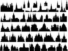 Large Collection Of Black Isolated Castles And Churches