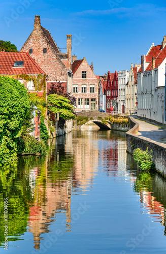 Foto op Canvas Brugge Bruges canal, Belgium