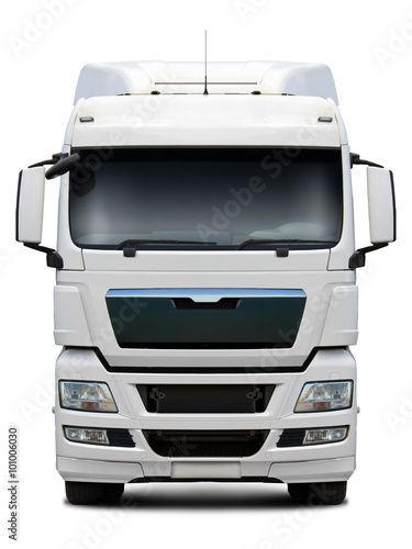 Fotografie, Obraz  White MAN truck front view isolated on white background.