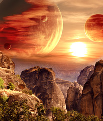 FototapetaFantastic landscape with planet, mountains, sunset