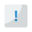 Blue Exclamation Mark icon on grey rounded square button on whit