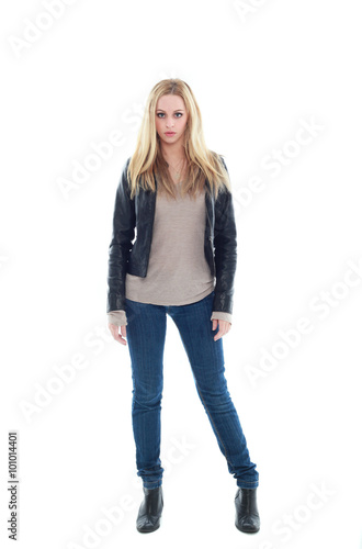 beautiful young woman with long blonde hair wearing black leather jacket and blue jeans Poster