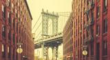 Retro stylized Manhattan Bridge seen from Dumbo, New York. - 101017225